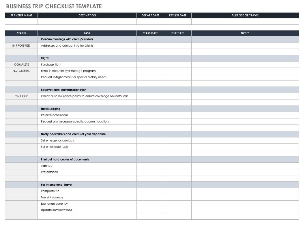 Free Itinerary Templates  Smartsheet In Travel Agenda Template