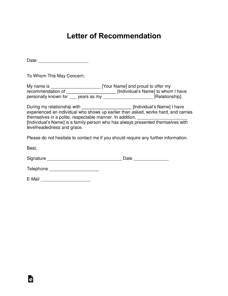 Free Letter Of Recommendation Templates  Samples And Examples  Pdf Within Letter Of Recomendation Template