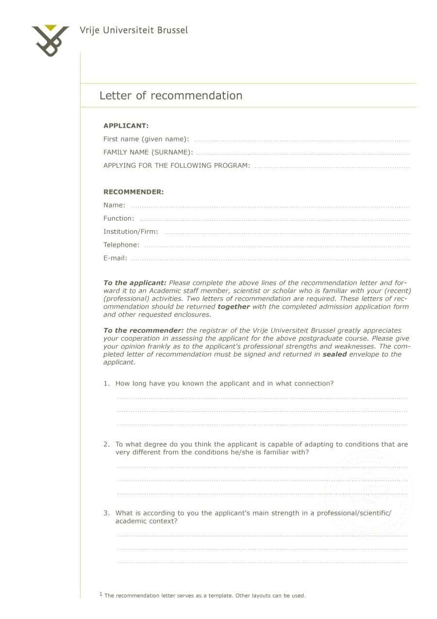 Free Letter Of Recommendation Templates  Samples Regarding Letter Of Rec Template