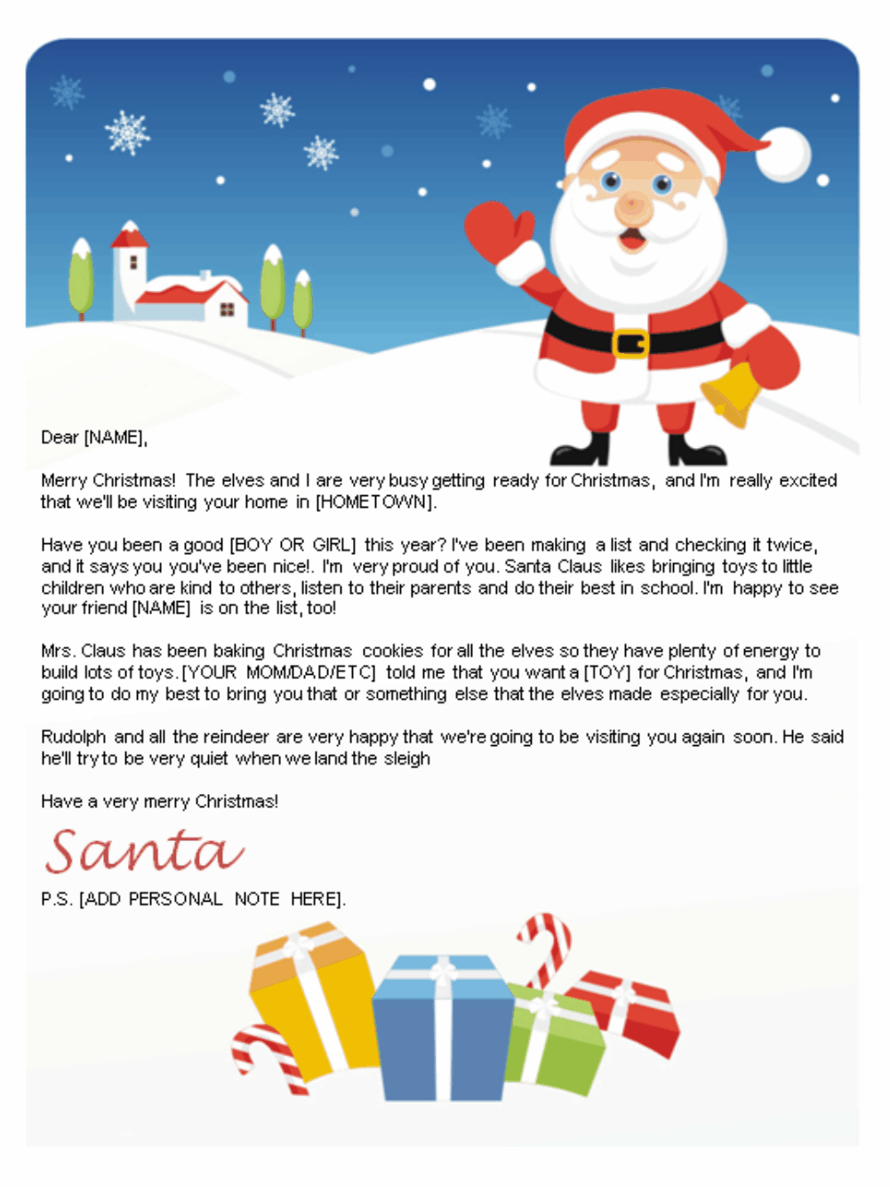 Free Letters From Santa  Santa Letters To Print At Home  Gifts With Free Letters From Santa Template