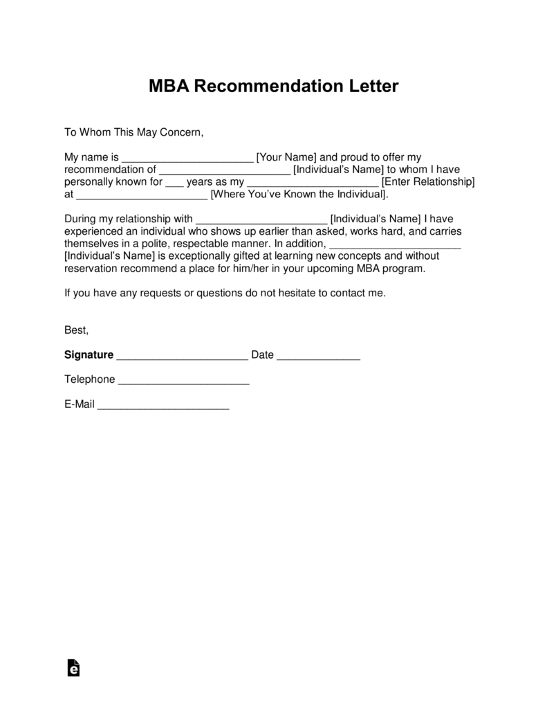 Free Mba Letter Of Recommendation Template  With Samples  Pdf Inside Client Care Letter Template