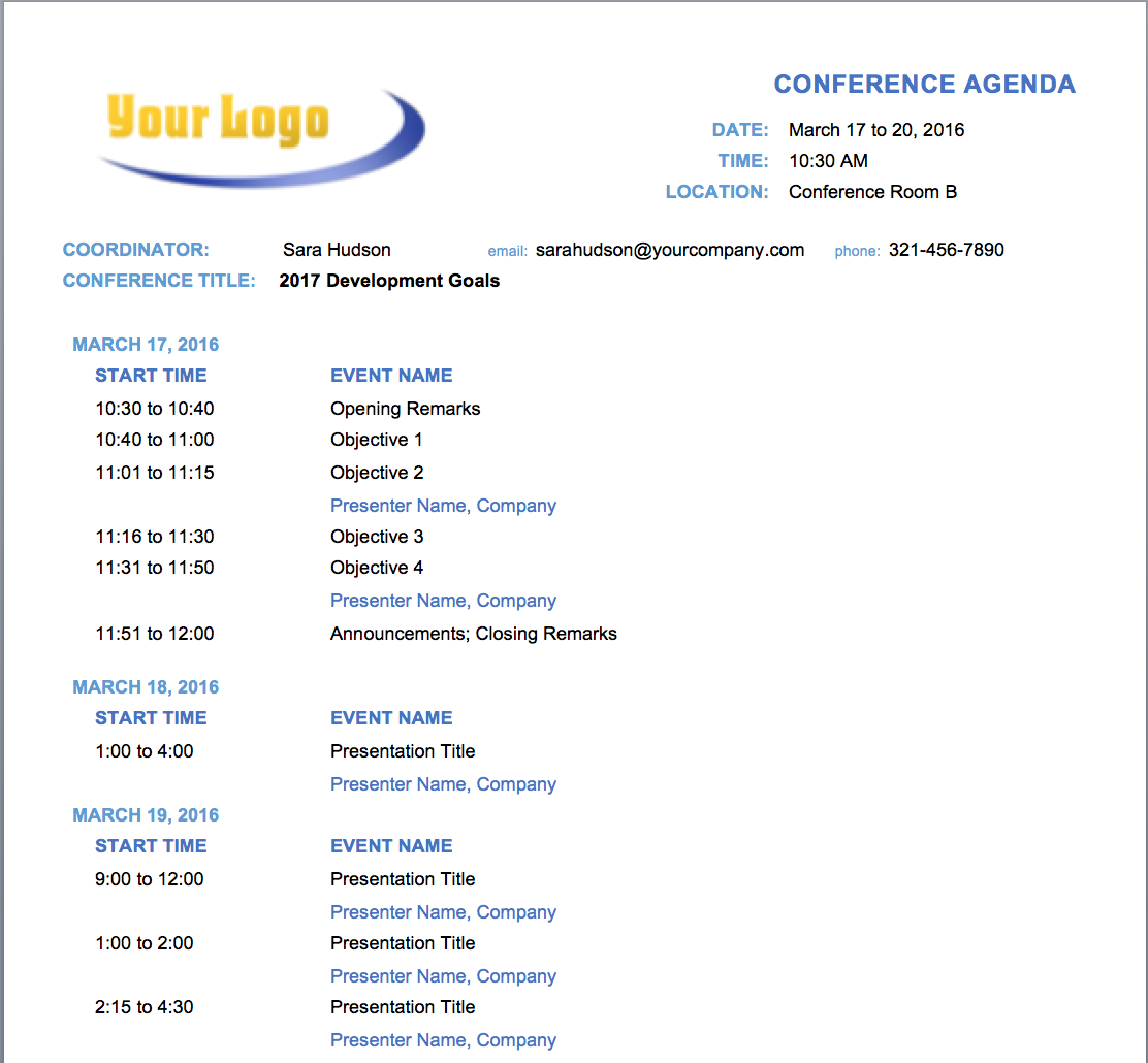 Free Meeting Agenda Templates For Microsoft Word  Smartsheet Throughout Program Agenda Template