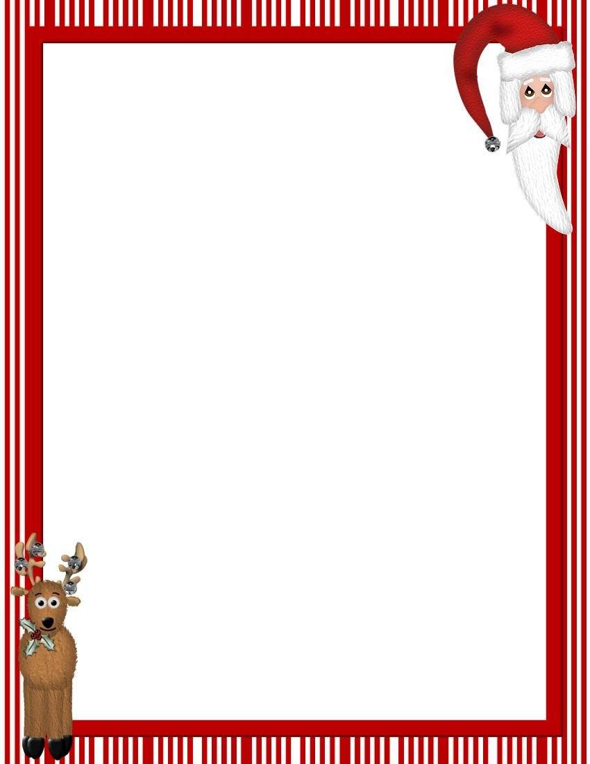 Free Printable Christmas Stationary Borders  Christmasstationery Inside Christmas Letter Templates Free Printable