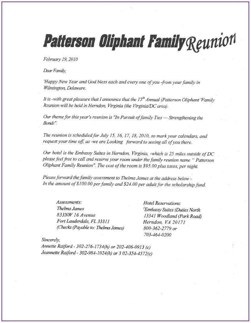 Free Printable Family Reunion Letter Templates  Template  Resume In Family Reunion Letter Template