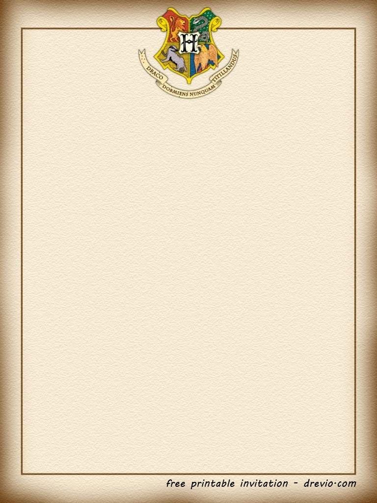 Free Printable Harry Potter  Hogwarts Invitation Template  Harry For Harry Potter Letter Template