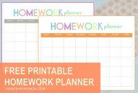 Free Printable Homework Planner regarding Homework Agenda Template