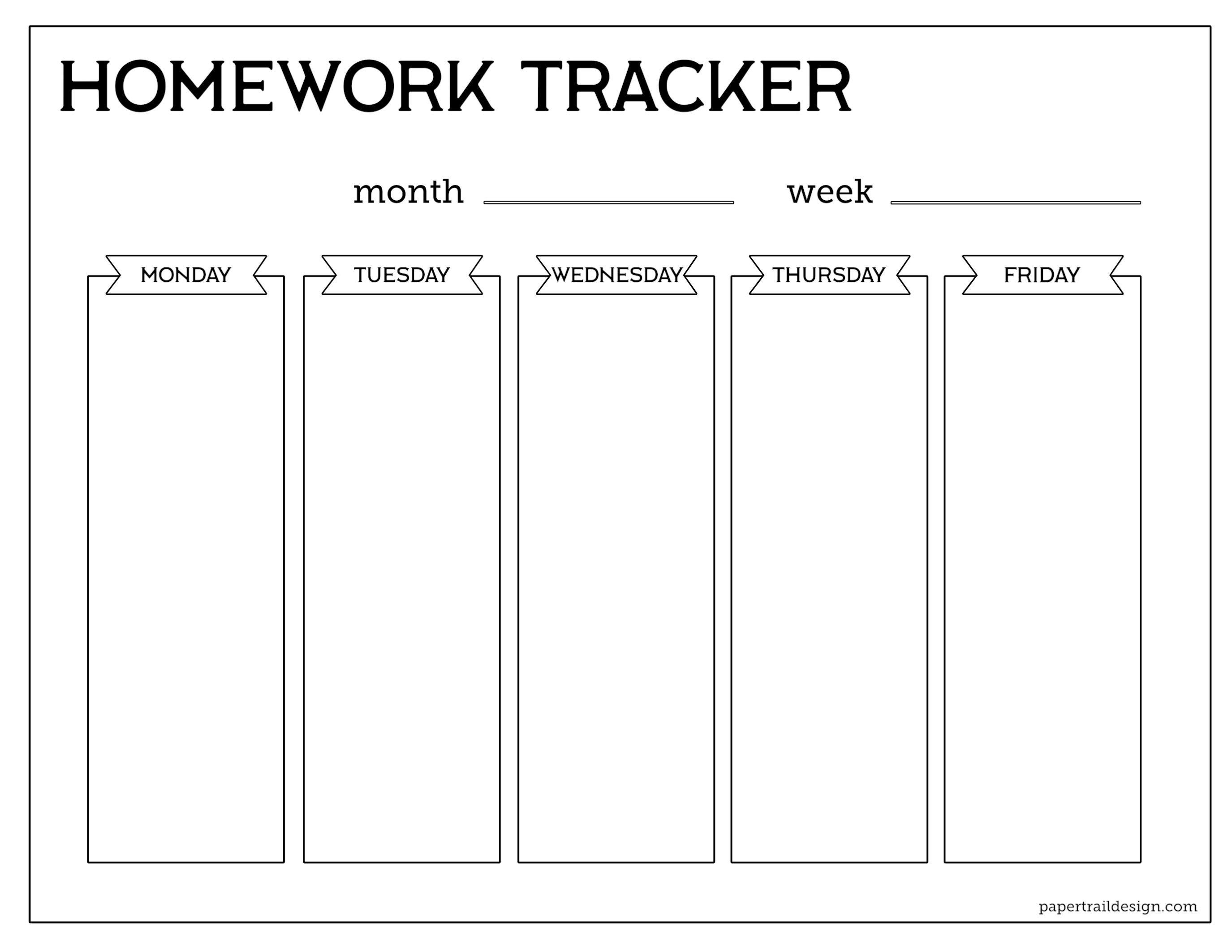 Free Printable Student Homework Planner Template  Paper Trail Design For Homework Agenda Template