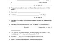 Free Small Estate Affidavit Forms  Pdf  Word  Eforms – Free with regard to Probate Valuation Letter Template