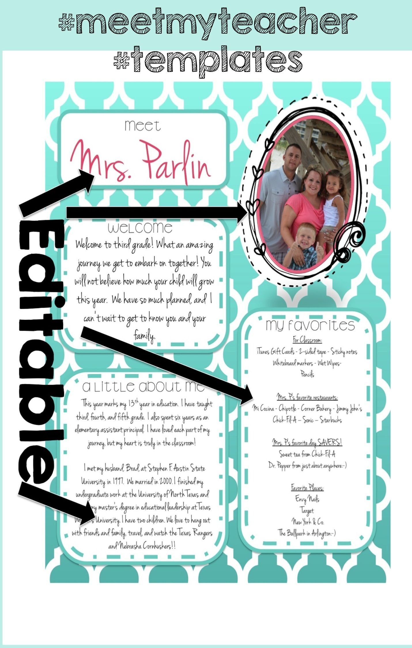 Free Templates For Teachers In Education  Education  Teacher With Regard To Meet The Teacher Letter Template