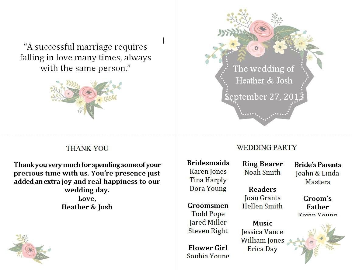Free Wedding Program Templates You Can Customize Within Wedding Agenda Template