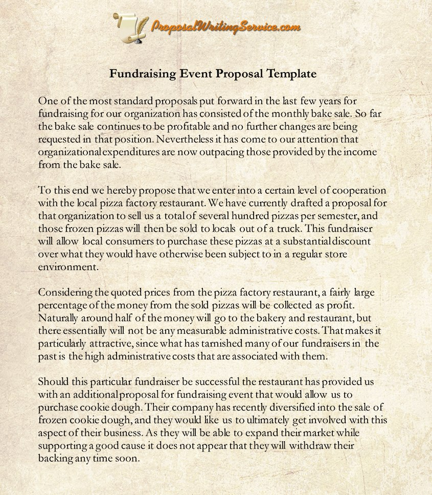 Fundraising Event Proposal Sample  Proposal Writing Service In Fundraiser Proposal Template