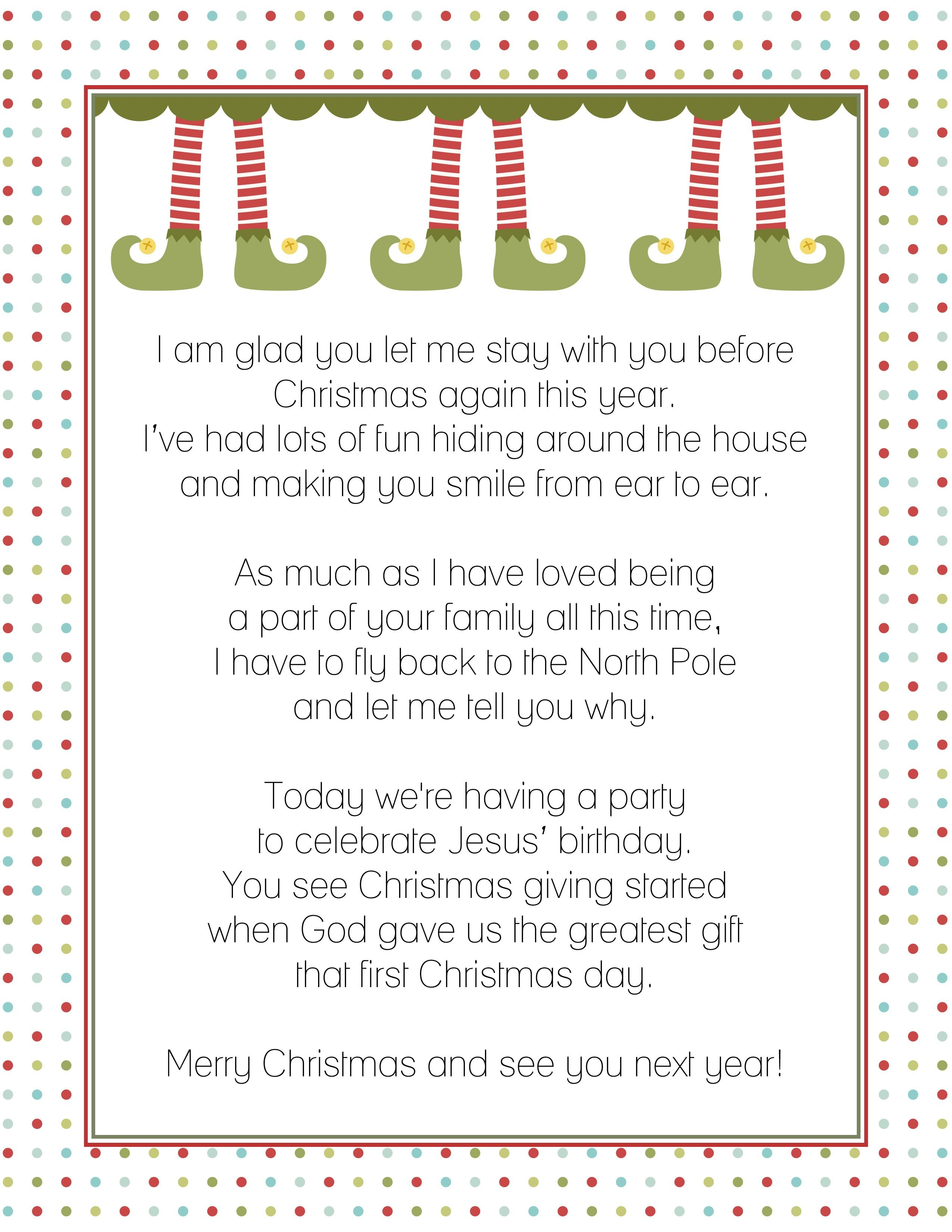 Goodbye Letter From The Elf On A Shelf  Christmas  Elf Letters Intended For Elf Goodbye Letter Template