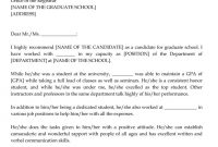 Graduate School Recommendation Letter Sample Letters And Examples within Letter Of Recommendation For Graduate School Template