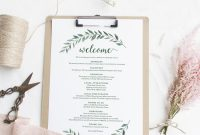 Green Welcome Itinerary Wedding Guest Welcome Letter Template pertaining to Wedding Welcome Letter Template