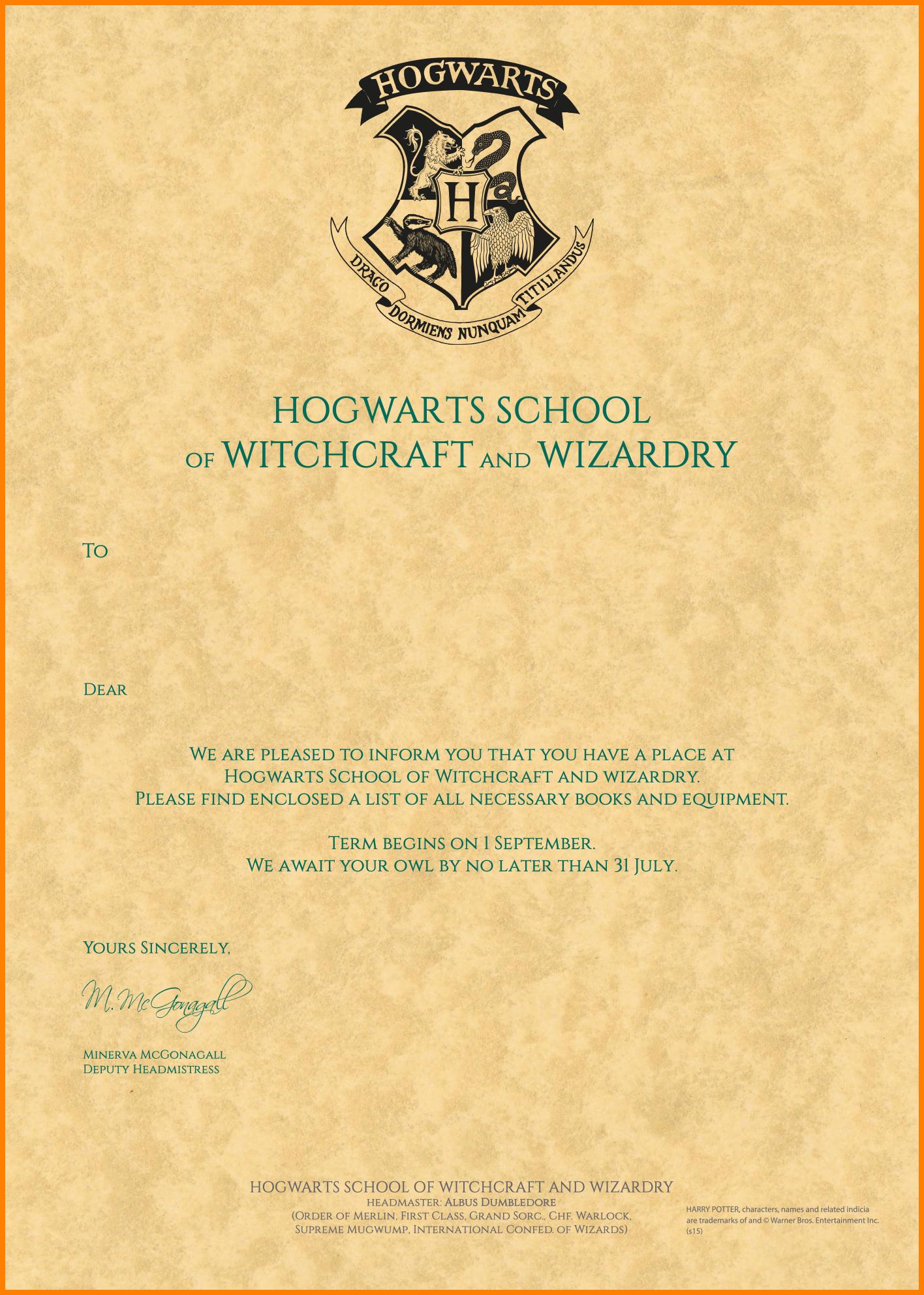 Harry Potter Acceptance Letter Template  Plasticmouldings In Harry Potter Letter Template