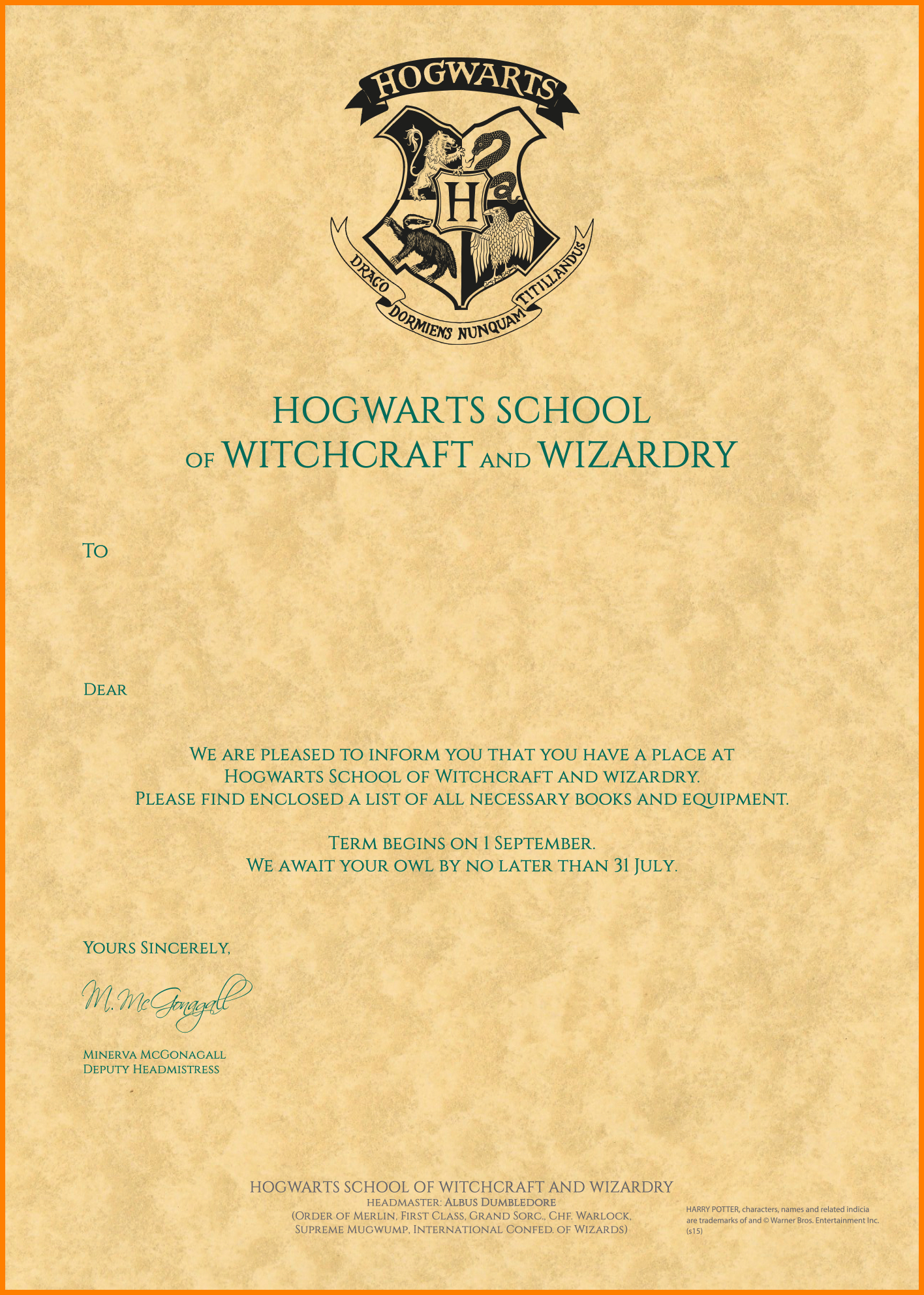 Harry Potter Acceptance Letter Template  Plasticmouldings Within Harry Potter Acceptance Letter Template