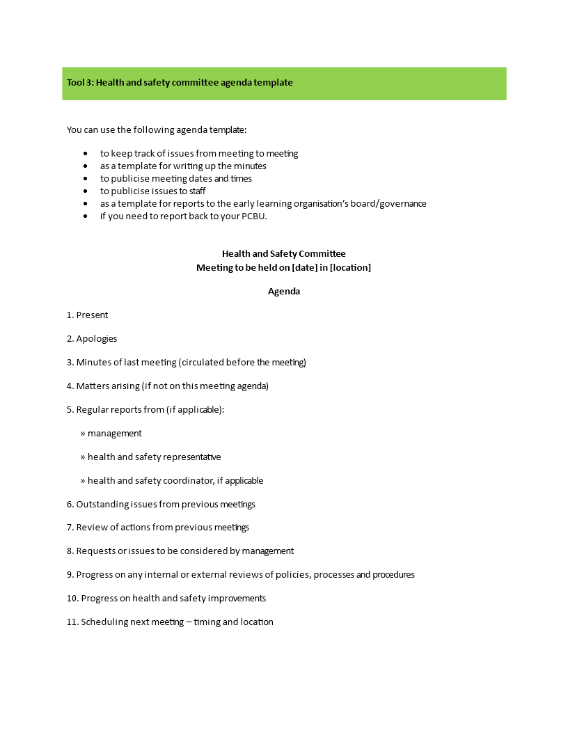 Health And Safety Committee Meeting Agenda  Templates At In Safety Committee Agenda Template