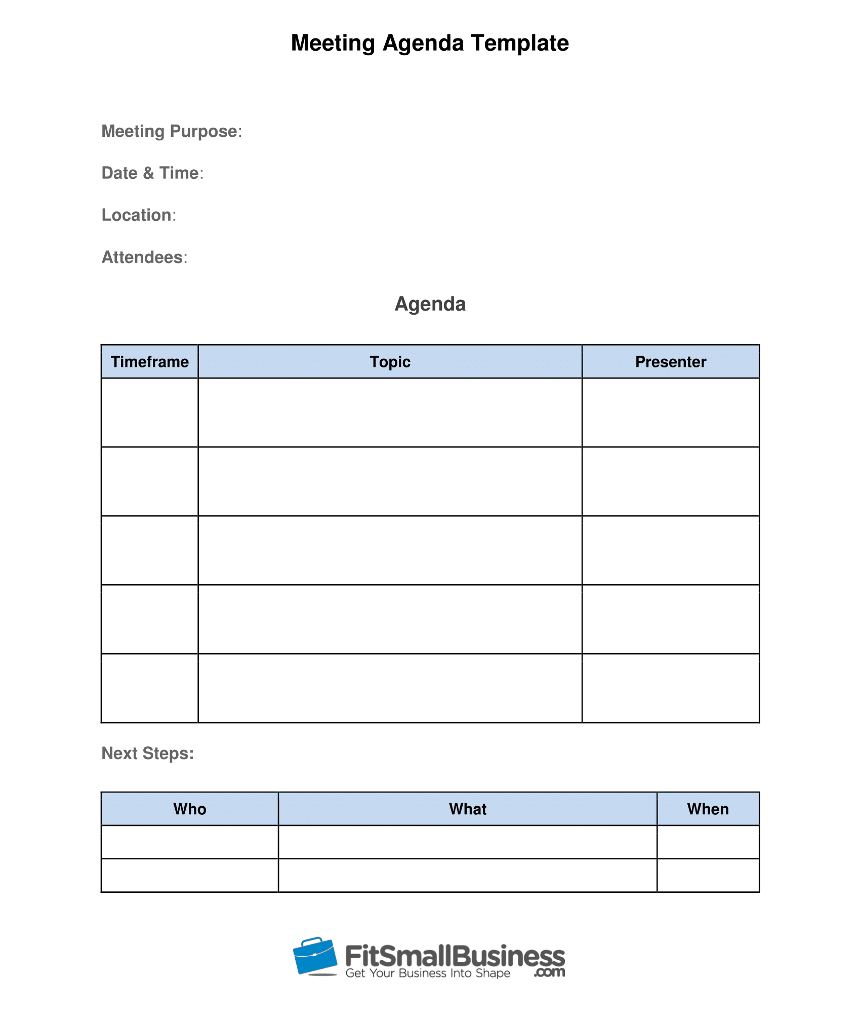 How To Run Effective Meetings In  Steps  Free Template Throughout Meeting Agenda Template Doc