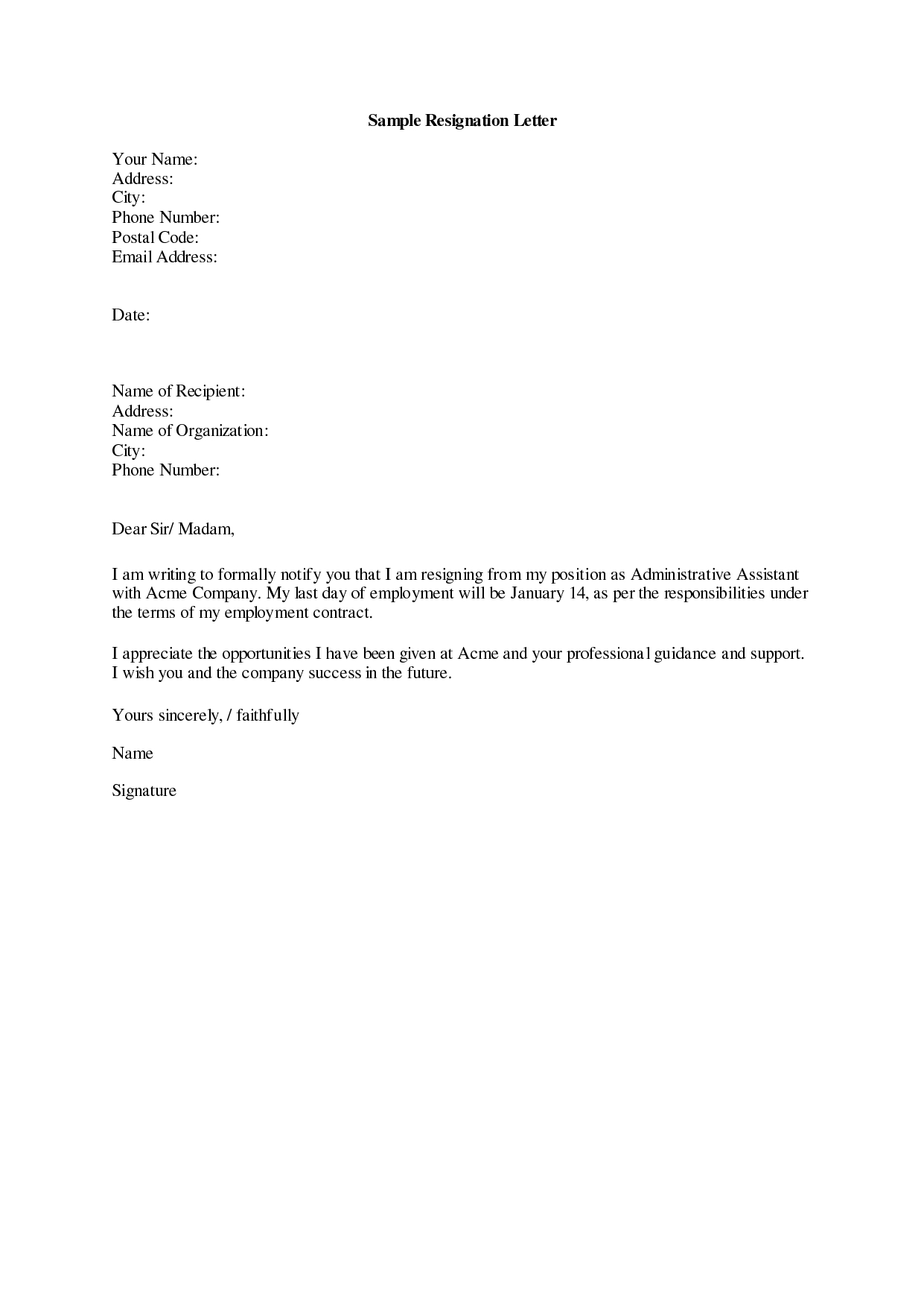 How To Write A Good Resignation Letter Pertaining To Standard Resignation Letter Template
