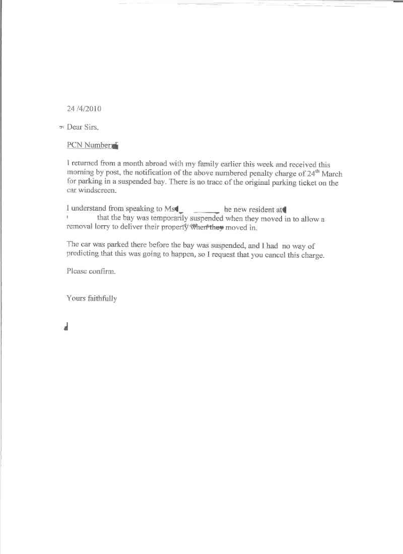 How To Write An Appeal Letter For Parking Ticket Choice Image Format Regarding Pcn Appeal Letter Template