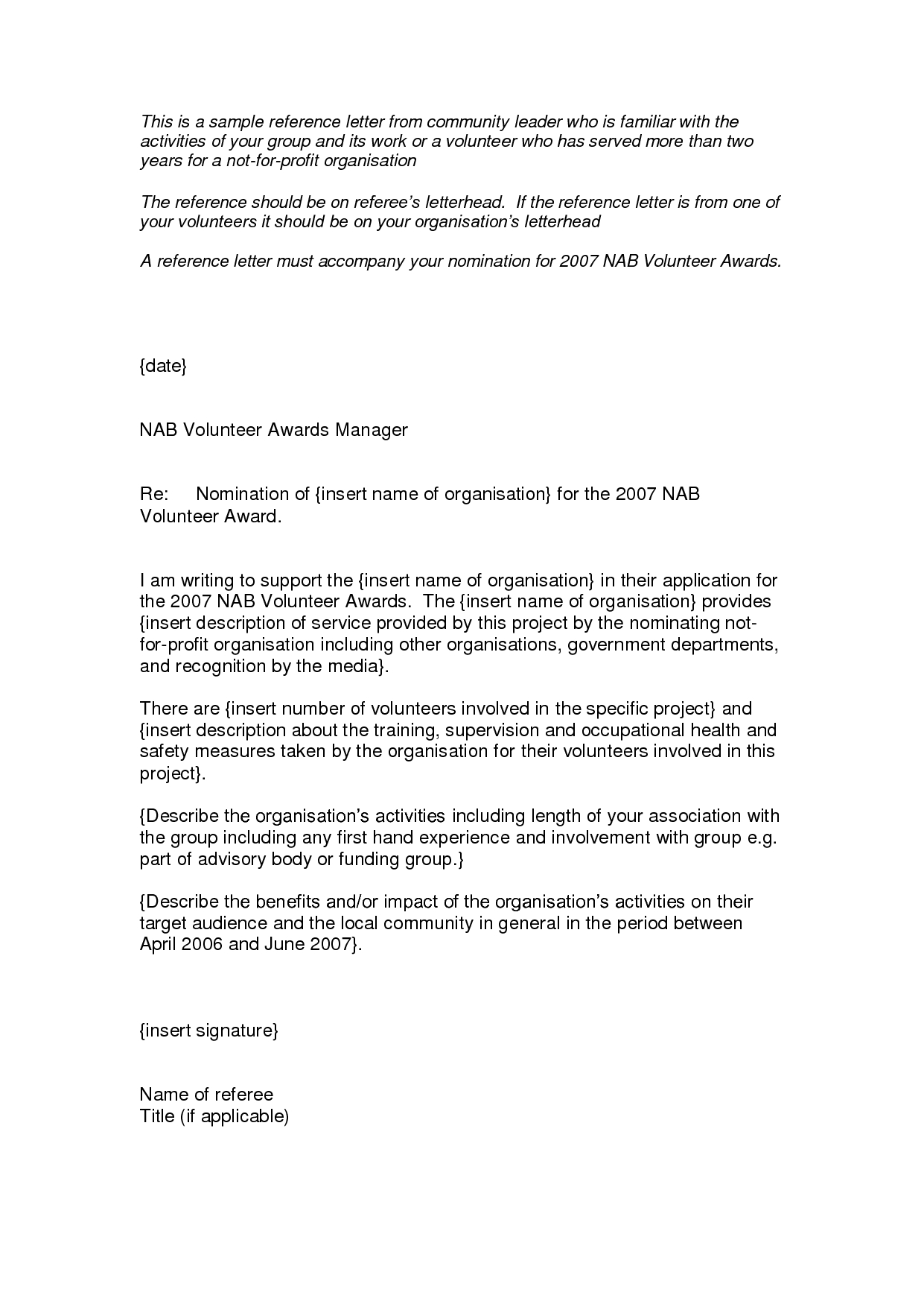 Images Of Volunteer Recommendation Letter Template For Position Pertaining To Reference Letter Template For Volunteer