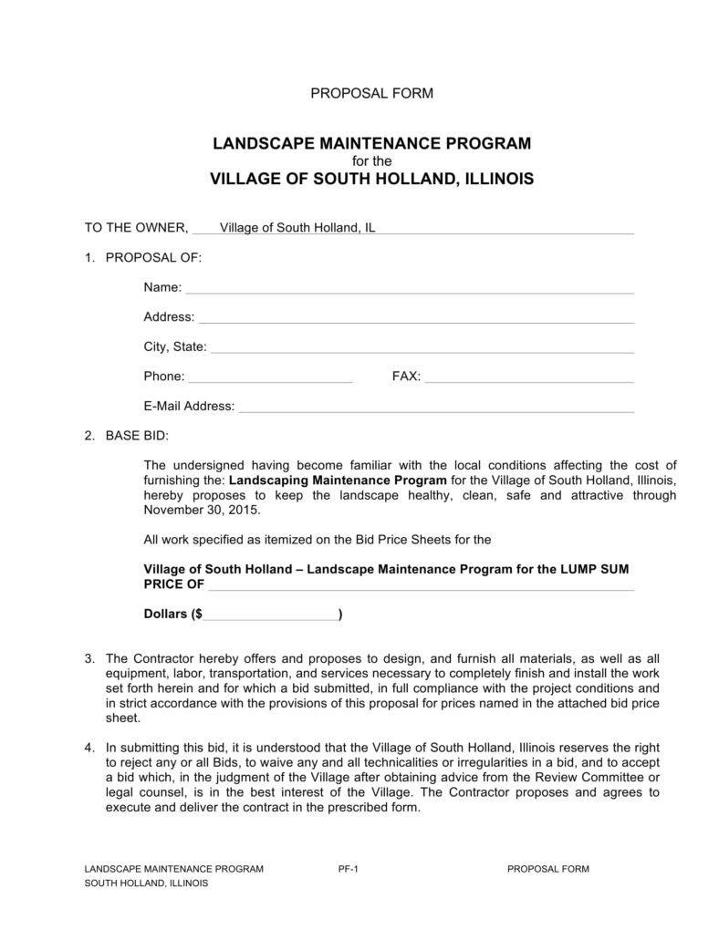 Importance Of Landscaping Proposals In Business  Word Pdf Pertaining To Landscape Proposal Template