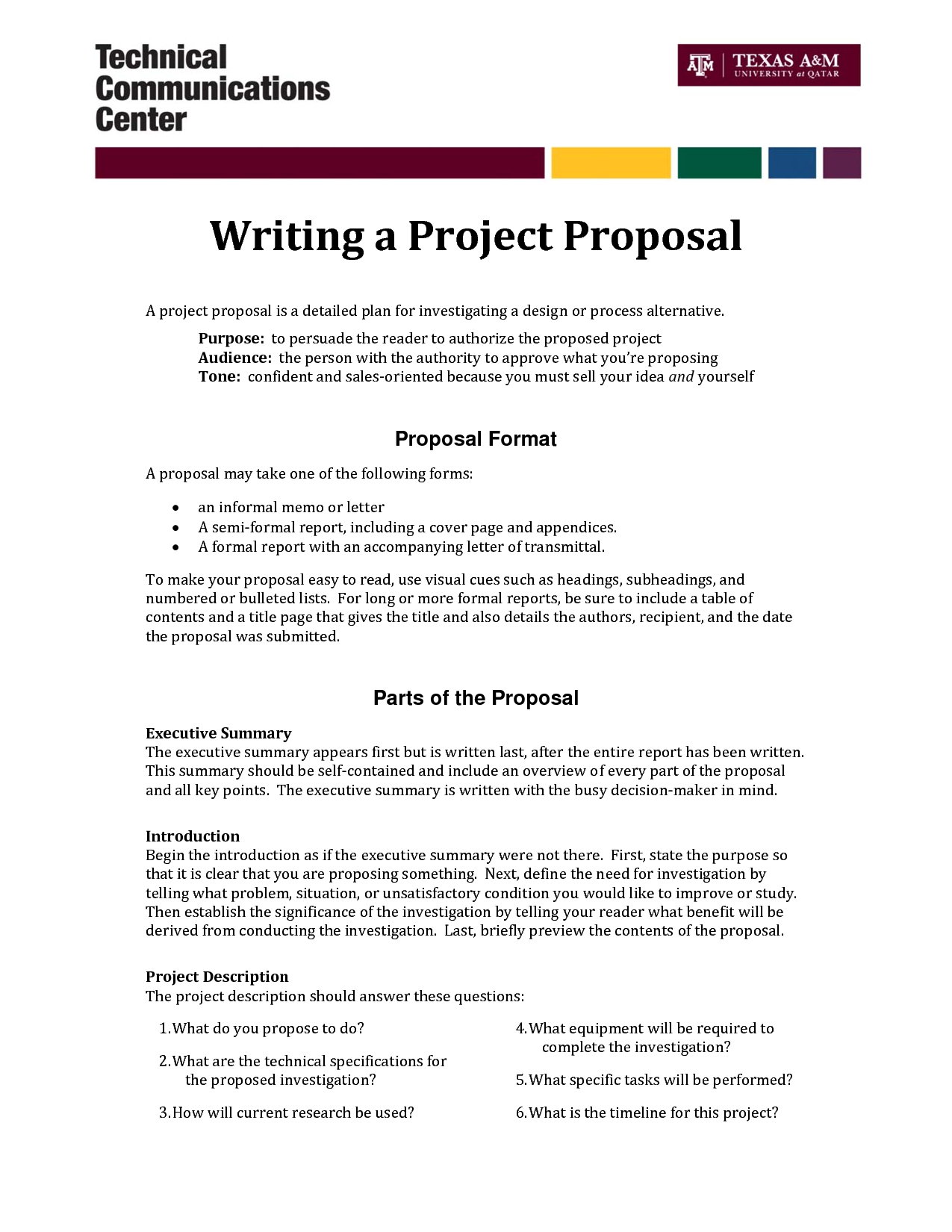 Informal Proposal Letter Example  Writing A Project Proposal A With Written Proposal Template
