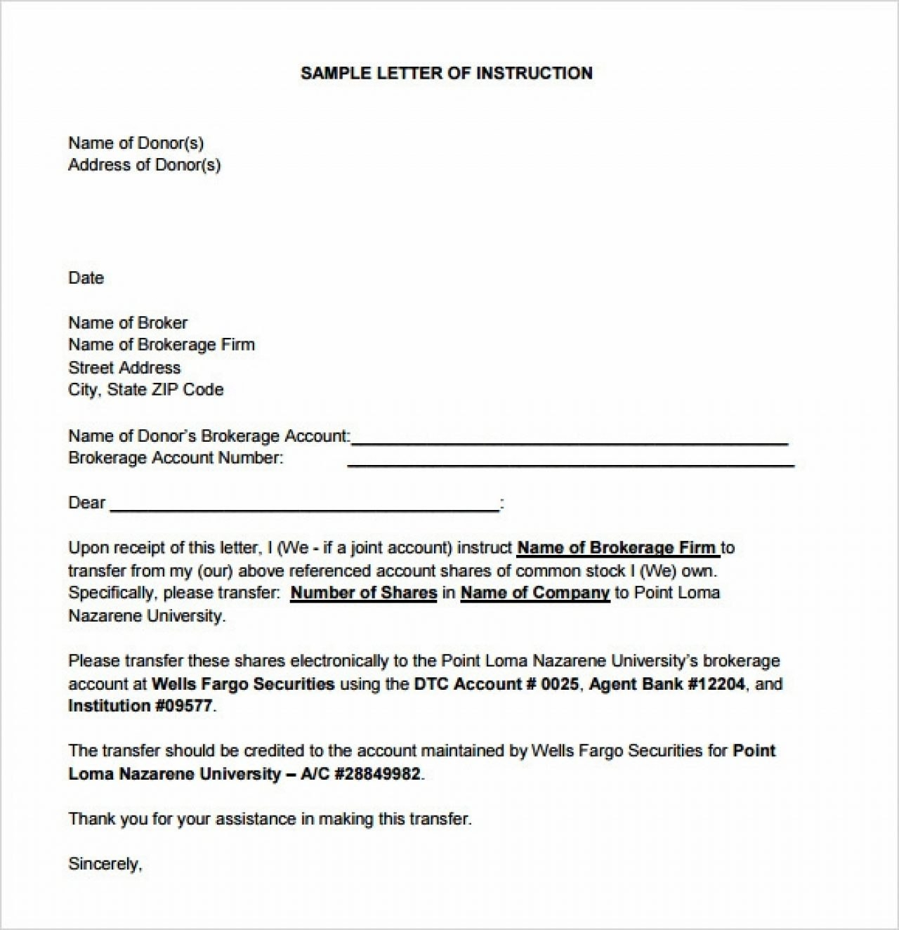 Instruction Letter Format  Cover Letter For Letter Of Instruction Template