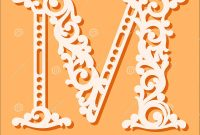 Laser Cut Template Initial Monogram Letters Fancy Floral Alphabet for Fancy Alphabet Letter Templates