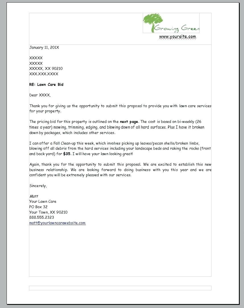 Lawn Service Proposal Template Free Ideas Sample Care Business Within Lawn Care Proposal Template