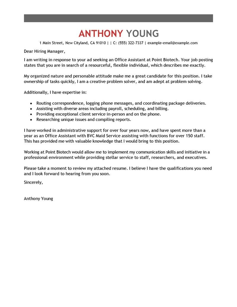 Leading Professional Office Assistant Cover Letter Examples Intended For Cover Letter Template For Office Assistant