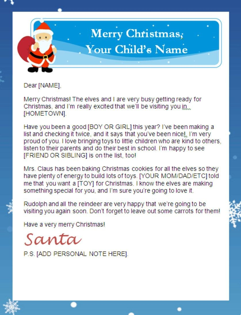 Letter From Santa Templates Free  Printable Santa Letters With Free Printable Letter From Santa Template
