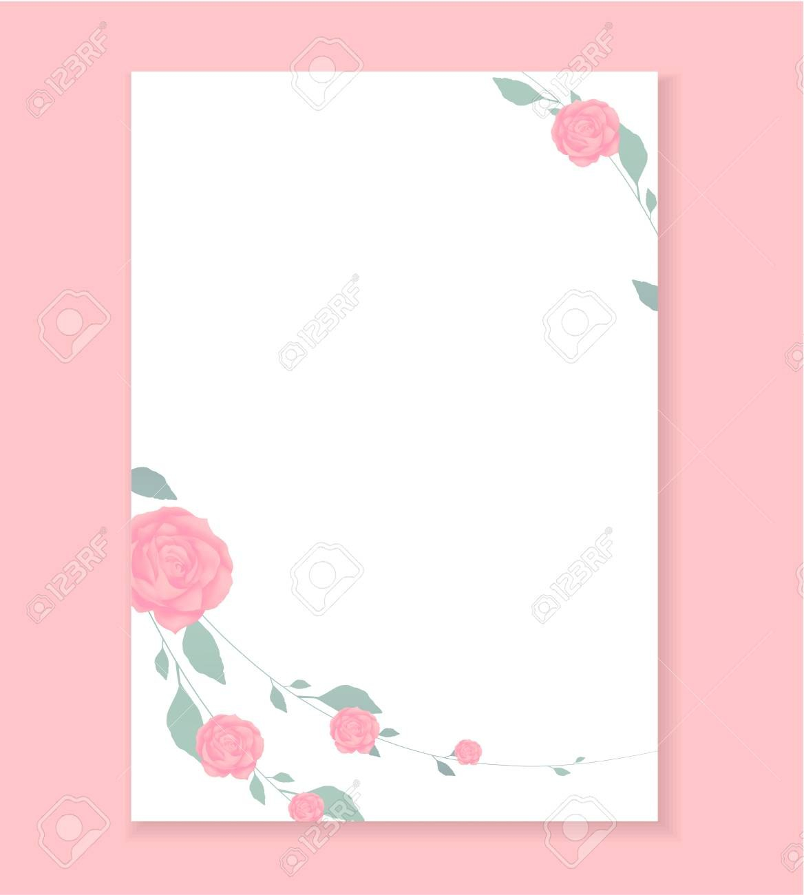 Love Letter Blank Template With Rose Flower Pattern Background Inside Template For Love Letter
