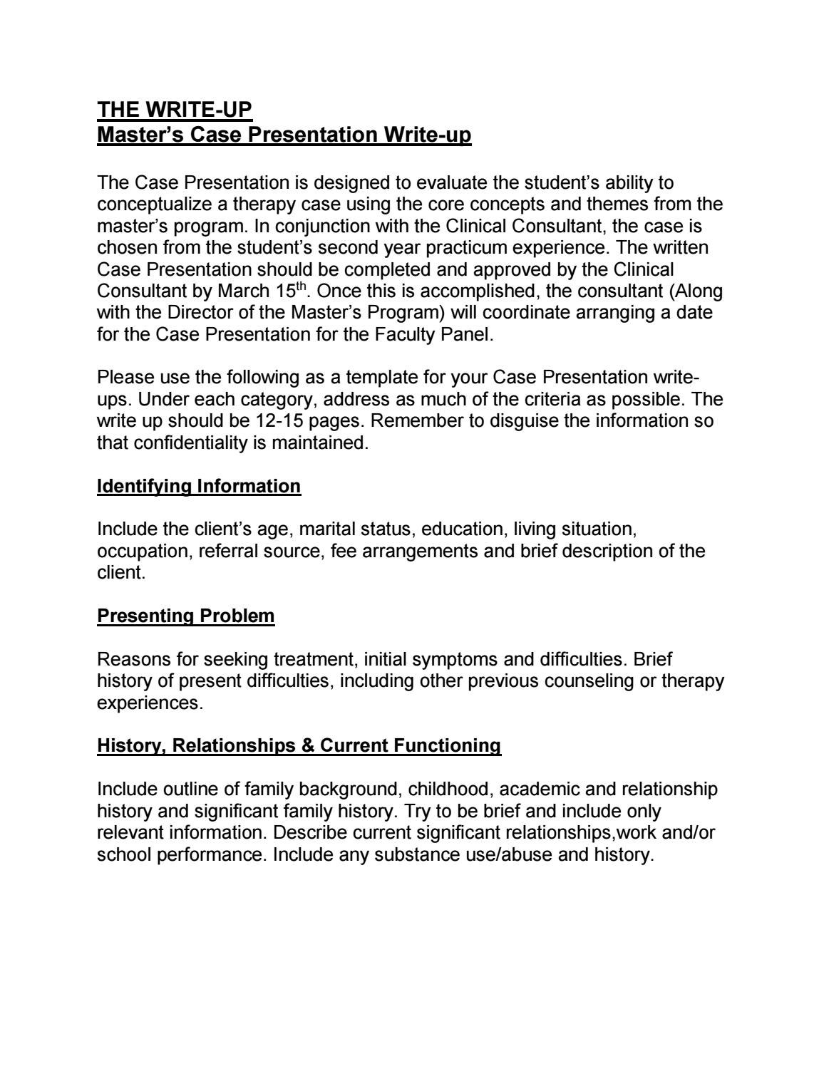 Ma Case Presentation Writeup Outlineicsw  Issuu Intended For Case Presentation Template