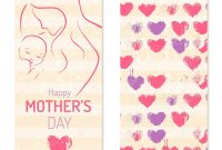 Mother' Day  Elegant Card Template With Contoured Mother An Child for Mother's Day Letter Template