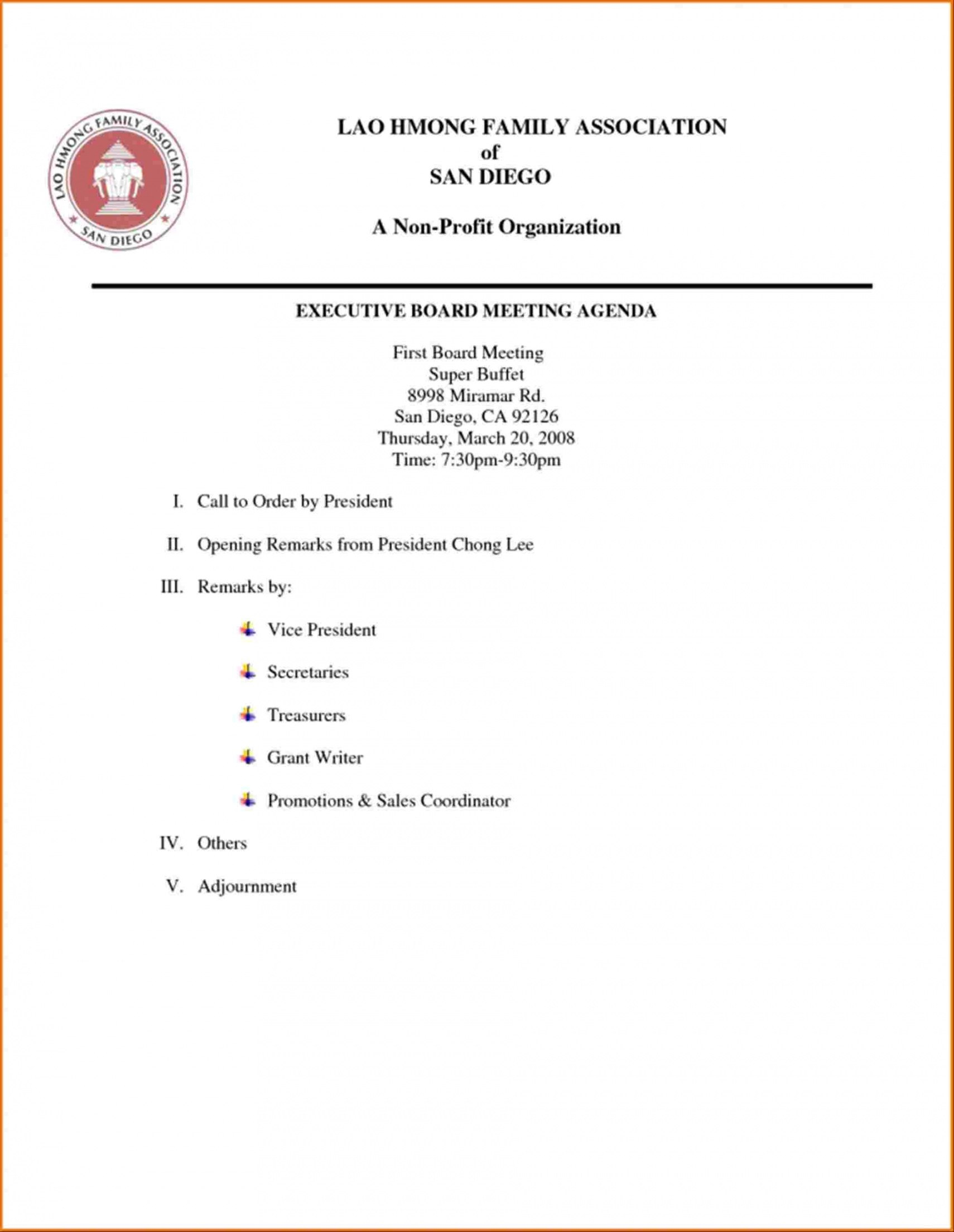 Nonprofit Board Meeting Agenda Template Inside Non Profit Board Meeting Agenda Template