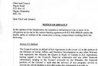Notice Of Default Letter  Peguis First Nation regarding Notice Of Default Letter Template