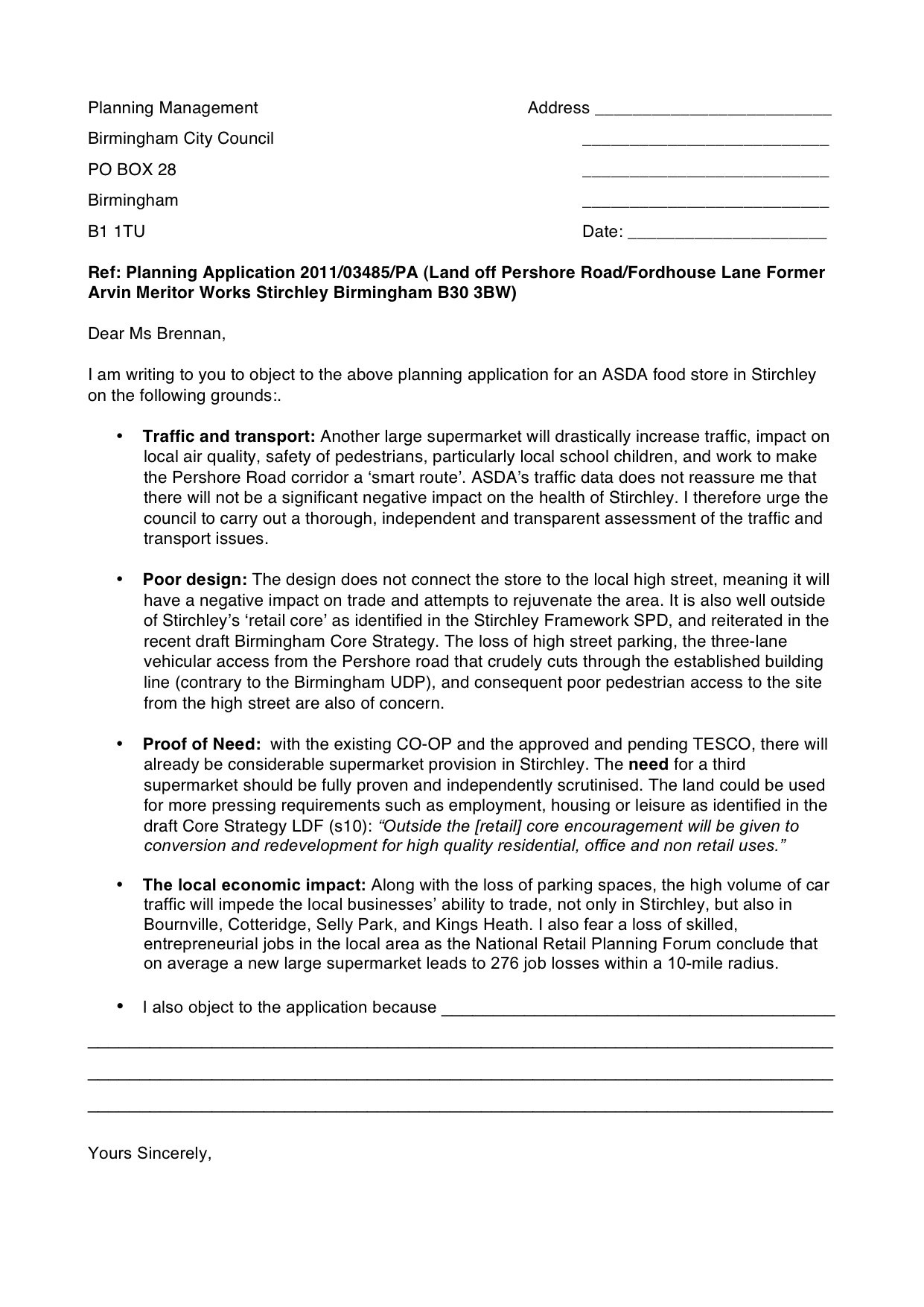 Objection Letter Template  Super Stirchley With Letter Of Objection Template
