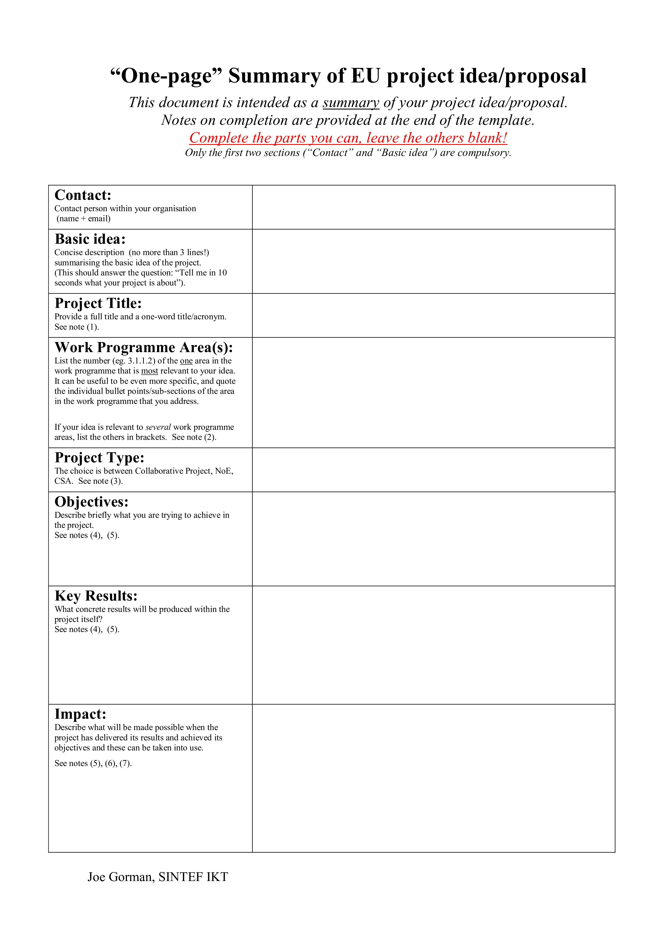 One Page Proposal Summary ⋆ Wwwscotlandbycamper Intended For One Page Proposal Template
