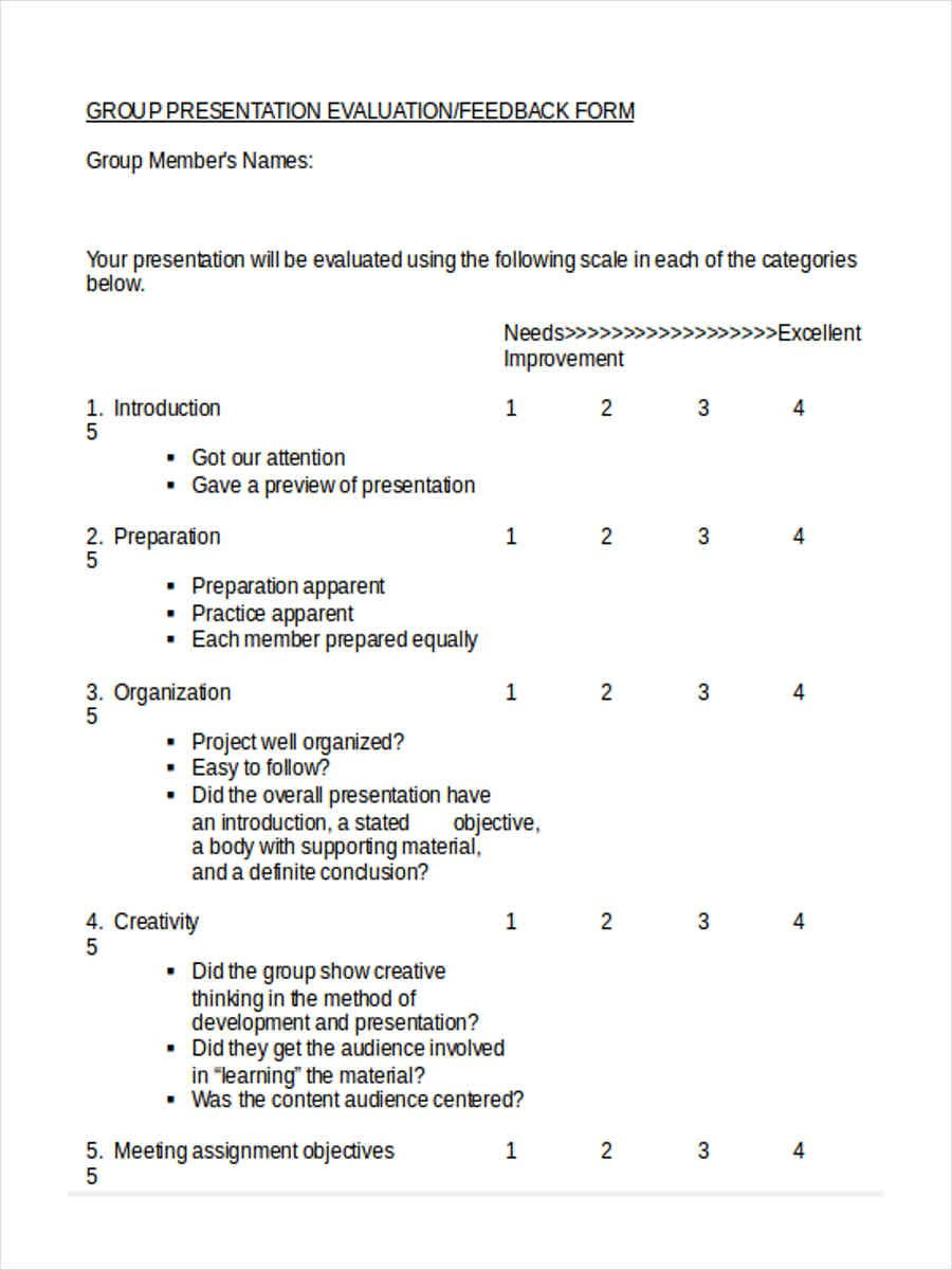 Peer Evaluation Form Templates Intended For Presentation Evaluation Template