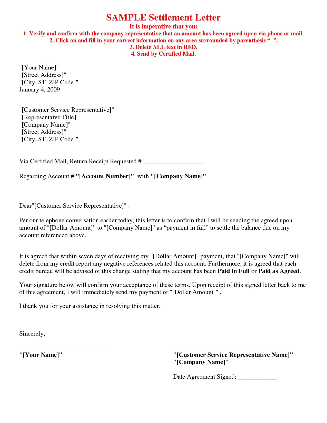 Picture  Of   Debt Settlement Agreement Letter Sample Regarding Pay For Delete Letter Template