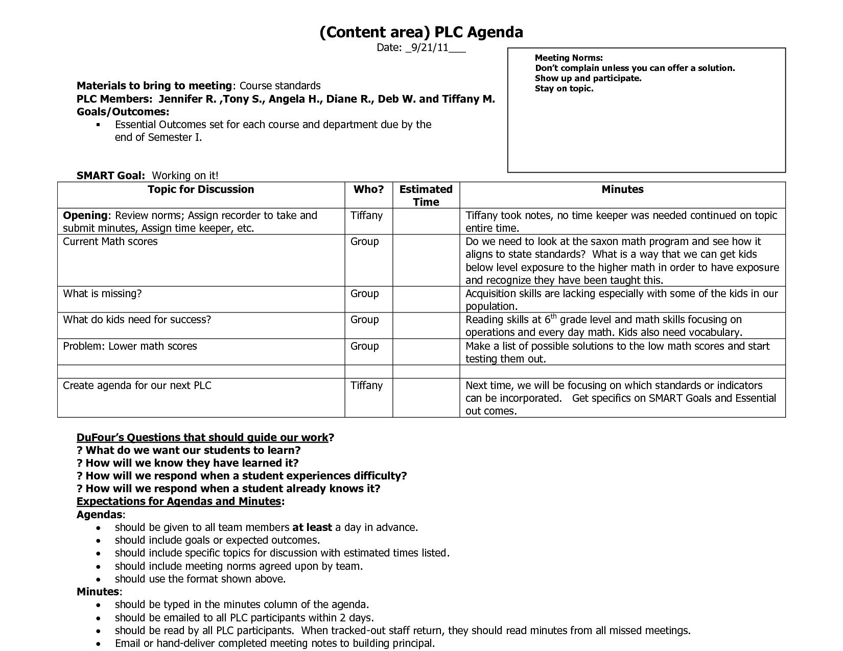 Plc Agenda Template   Best Agenda Templates  Plc Within Plc Agenda Template