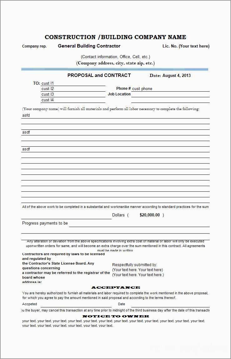 Plumbing Proposal Template Free Amazing Construction Proposal regarding Plumbing Proposal Template