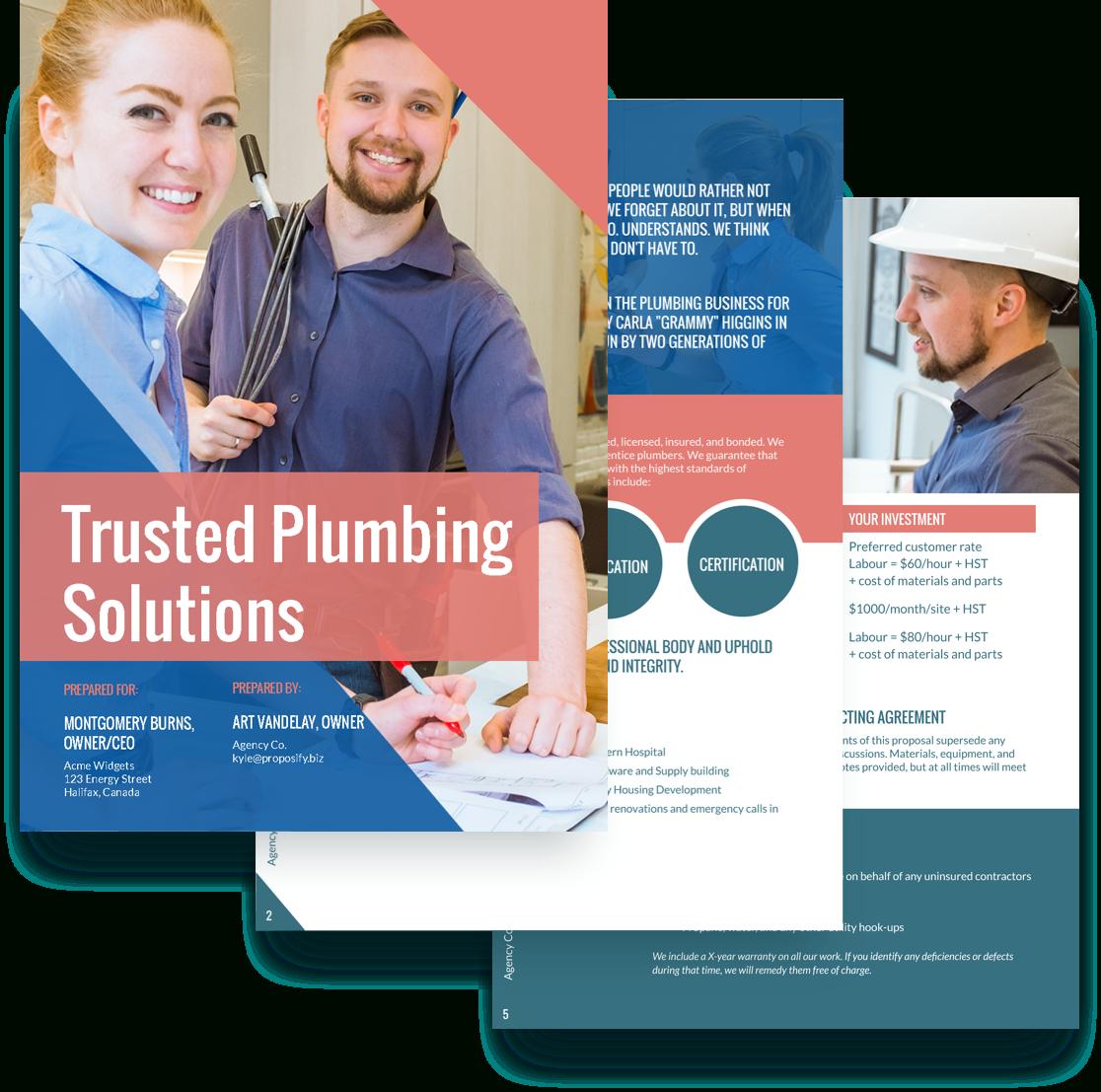 Plumbing Proposal Template  Free Sample  Proposify For Plumbing Proposal Template