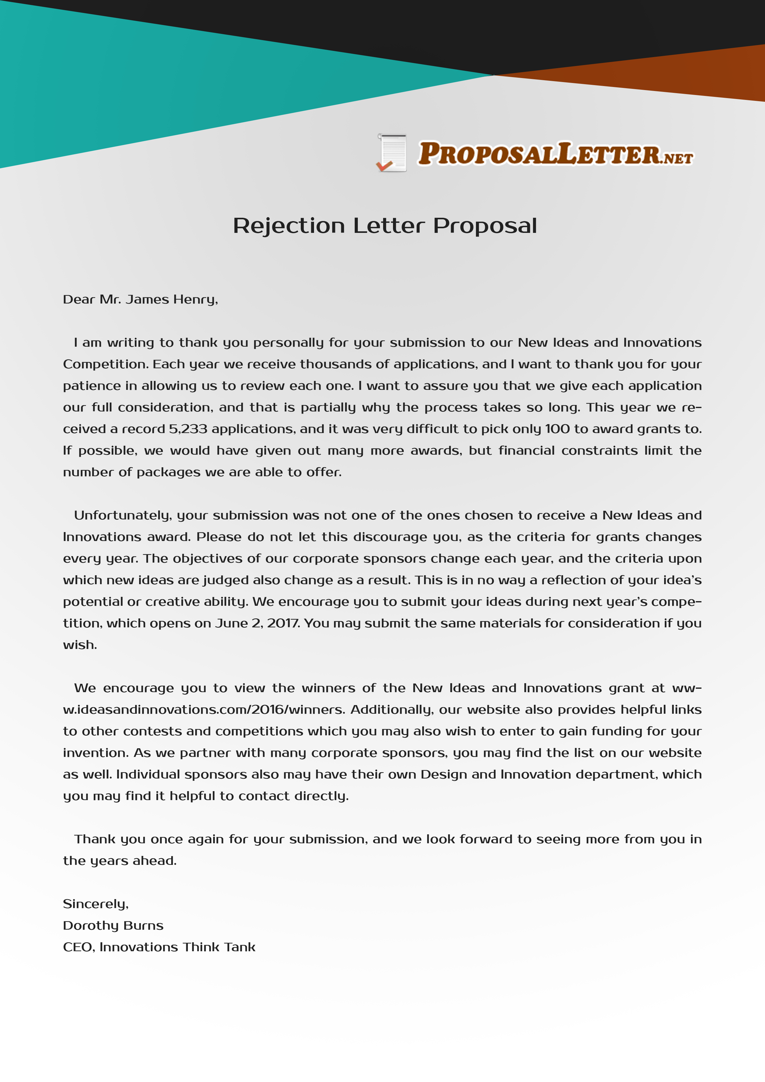 Proposal Rejection Letter Writing Online  Proposal Letter Pertaining To Proposal Rejection Letter Template