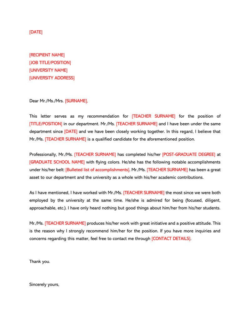 Recommendation Letter For A Teacher  Sample Letters  Templates Pertaining To Letter Of Recomendation Template