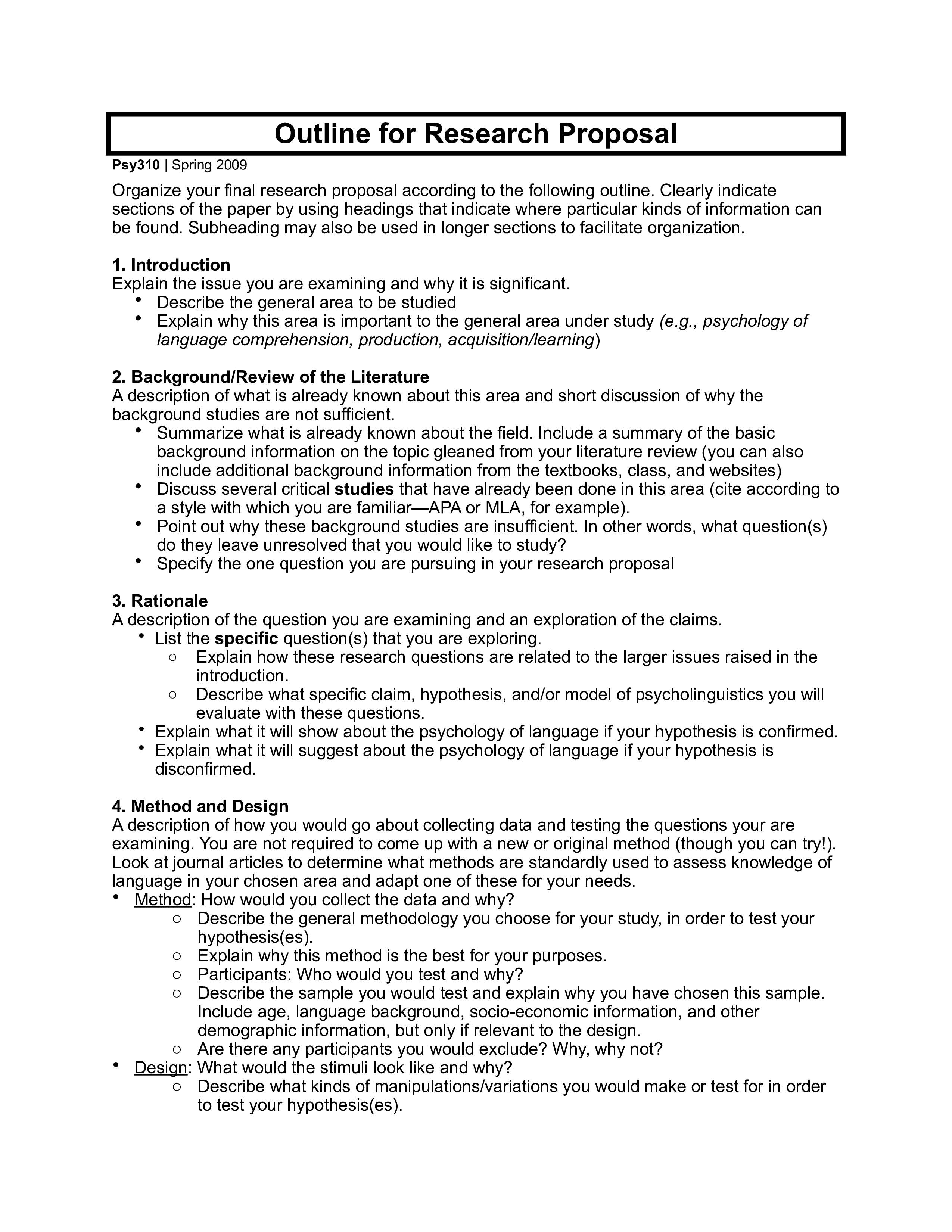 Research Proposal Outline Example  Templates At In Research Proposal Outline Template