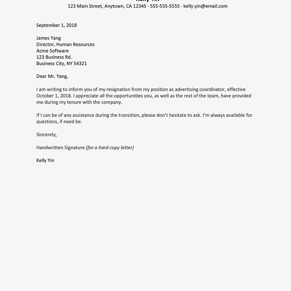 Resignation Letter Templates With Template For Resignation Letter Singapore
