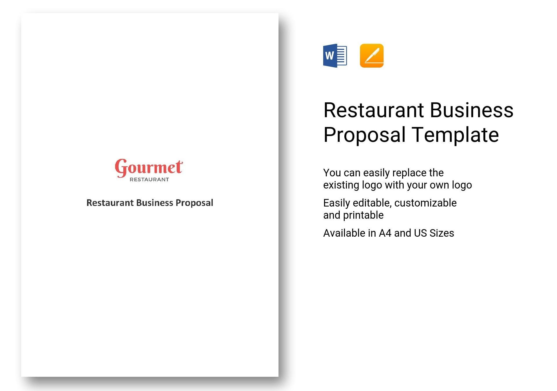 Restaurant Business Proposal Template In Word Apple Pages Throughout Restaurant Business Proposal Template