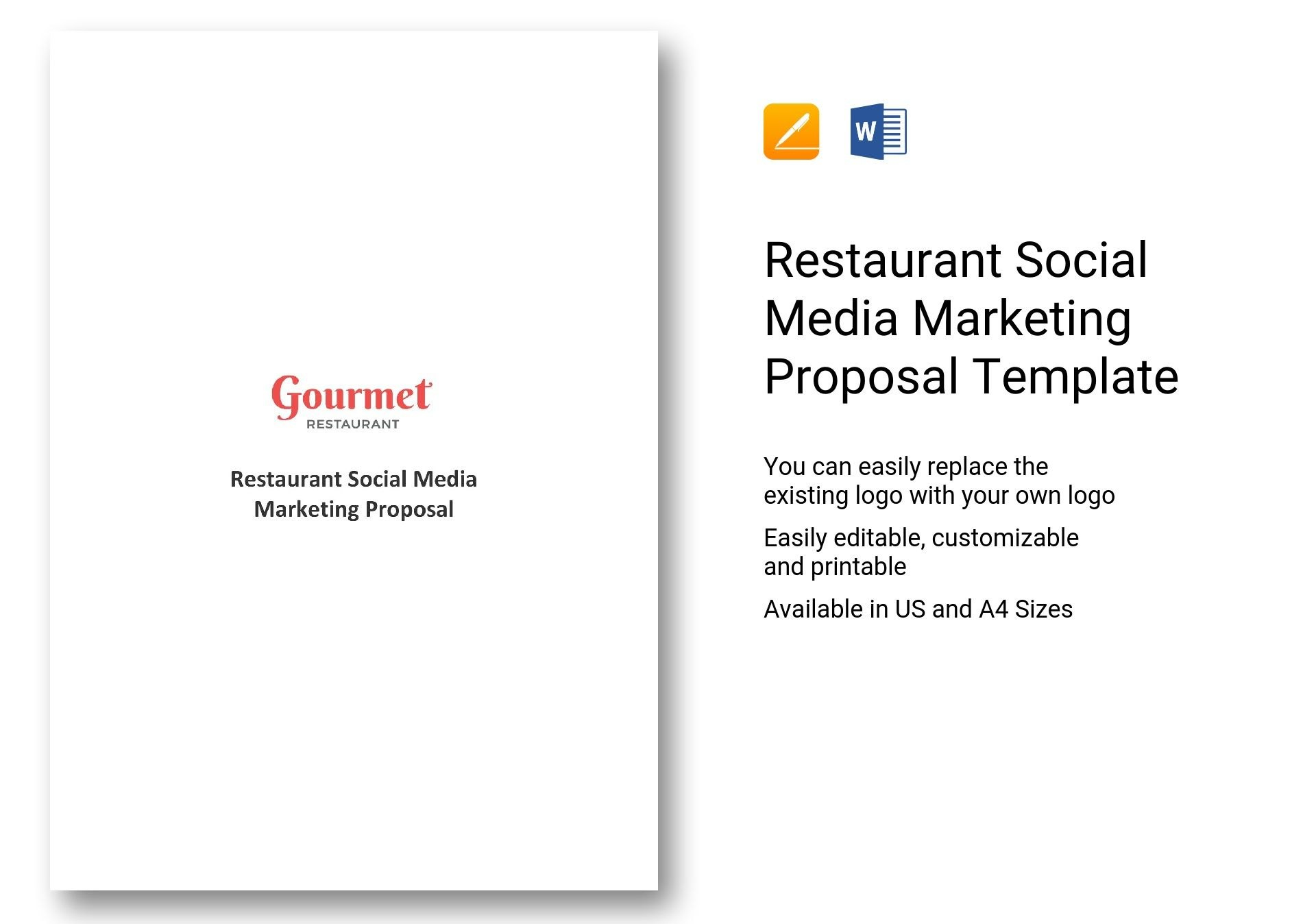 Restaurant Social Media Marketing Proposal Template In Word Apple Pages For Social Media Marketing Proposal Template